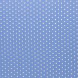 Baumwolle Sterne, 1 cm, weiß/blau