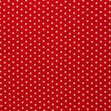 Baumwolle Sterne, 1 cm, weiß/rot
