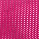 Baumwolle Sterne, 1 cm, weiß/pink