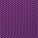 Baumwolle Sterne, 1 cm, weiß/lila