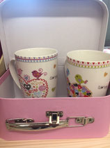 Tee Tassen Duo mit hübschen Köfferchen, (Artikel Nr. 2.6)