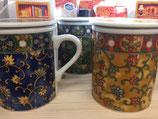 Tee Tasse mit Teesieb und Deckel, (Artikel Nr. 1.2 Blau, 1.3 Gelb, 1.4.Grün
