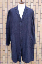 1940's~50's FRENCH BLACK LINEN ATELIER COAT