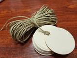 Etiquetas redonda verjurado crema + cuerda  (011)