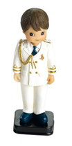 Figura para tarta comunion.  Niño traje almirante blanco. 1684. Aprox 16 cm alto