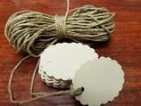 Etiquetas ovaladas ondas  verjurado crema + cuerda  (012)