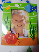 Portafoto madera cangrejo y pez. colores.  10x15 cm