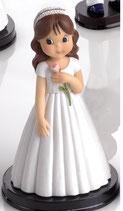 Figura para tarta comunion.  Niña vestido y diadema blanco, con rosita en la mano. 1699. Aprox 16 cm alto