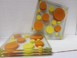 Juego 6 posavasos de cristal circulos amarillo y naranja