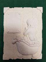 Juego 2 cuadritos relieve niños en bañera marmolina