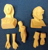 Kit nacimiento en marmolina para pintar.  Cabezas, manos y niño.  7 piezas