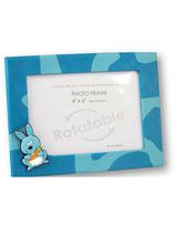 Portafoto rotable azul con conejo 10x15 cm