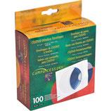 Caja 100 sobres para CD/DVD con ventana redonda