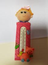 Termómetro para colgar, rosa, niña con coleta