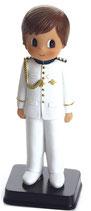 Figura para tarta comunion.  Niño traje almirante blanco con cuello mao. 1695. Aprox 16 cm alto