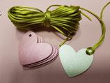 Etiquetas corazón troquelado, verde y rosa