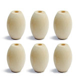 Bolas de madera con agujero forma ovalada 25 mm