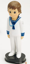 Figura para tarta comunion.  Niño traje marinero blanco. 1710. Aprox 16 cm alto