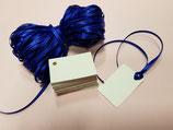 Etiquetas marfil irisado con cinta raso azul
