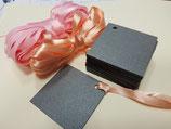 Etiquetas negra perlada + cintas rosa y salmón (009)