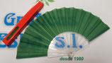 Abanico varillas de plastico y tela verde