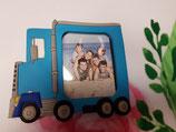 Portafoto foam camión azul con imán y pata en trasera