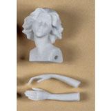 Angel de marmolina para pintar.  Cabeza 4,5 cm alto y manos 3,5 cm largo.