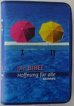 Bibelhülle Blau mit Regenschirmen groß