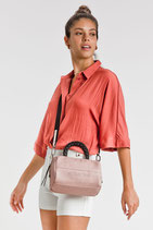 Bolso bowling PU-Color rosa y color marfil.