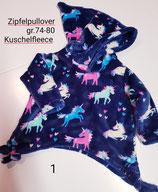Zipfel Pullover  gr. 74-80 aus  Kuschelfleece  handgemacht