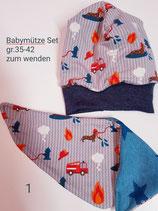 Babymütze+Halstuch  als Set  gr.36-42 zum wenden handgemacht
