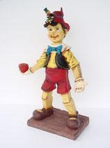 Figura de Pinocho con su grillo y una manzana | Réplicas de Pinocho