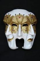 RÉPLICA DE MASCARA VENECIANA DE COLOR BLANCO Y DORADO | Máscaras temáticas