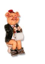 Réplica de cerdo con portarollo de papel de wc | Portarollos originales - decoración temática