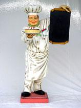 Figura de chef que aguanta un pastel y una pizarra menú | Réplicas de chefs