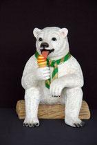 RÉPLICA DE OSO POLAR CON HELADO Y BUFANDA | Figuras de osos