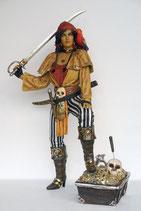 RÉPLICA DE MUJER PIRATA APOYADA EN TESORO | Figuras de piratas