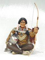 RÉPLICA DE INDIO CON UN LOBO | Figuras de indios