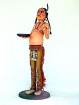 RÉPLICA DE INDIO CON BANDEJA | Figuras de indios salvajes