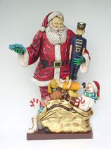Réplica de Papa noel rodeado de regalos para decoración de navidad
