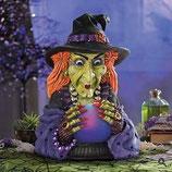 Estupenda réplica de bruja con bola de cristal para una increíble decoración de halloween