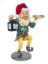 Figura de enano elfo navidad con linterna y bandeja para decoración de navidad