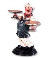 Figura de cocinero con bandejas en ambas manos | Figuras de cocineros
