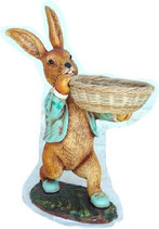 Réplica de conejo con cesta | Figuras de conejos