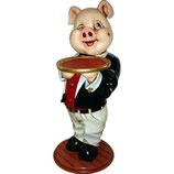 RÉPLICA DE CERDO CAMARERO CON BANDEJA | Figuras de cerdos