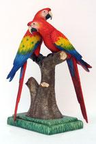 Réplicas de loros rojos,azules y amarillo | figuras de loros