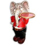 RÉPLICA DE ELEFANTE HACIENDO DE CAMARERO | Figuras de elefantes