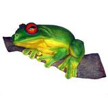 Réplica de rana en tronco