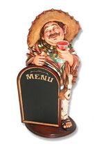Réplica de mejicano con bebida y pizarra | Figuras mejicanas