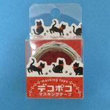 凸凹カットの黒猫マスキングテープ